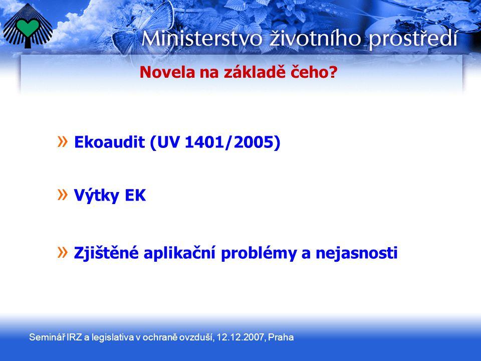 Seminář IRZ a legislativa v ochraně ovzduší, 12.12.2007, Praha Novela na základě čeho.