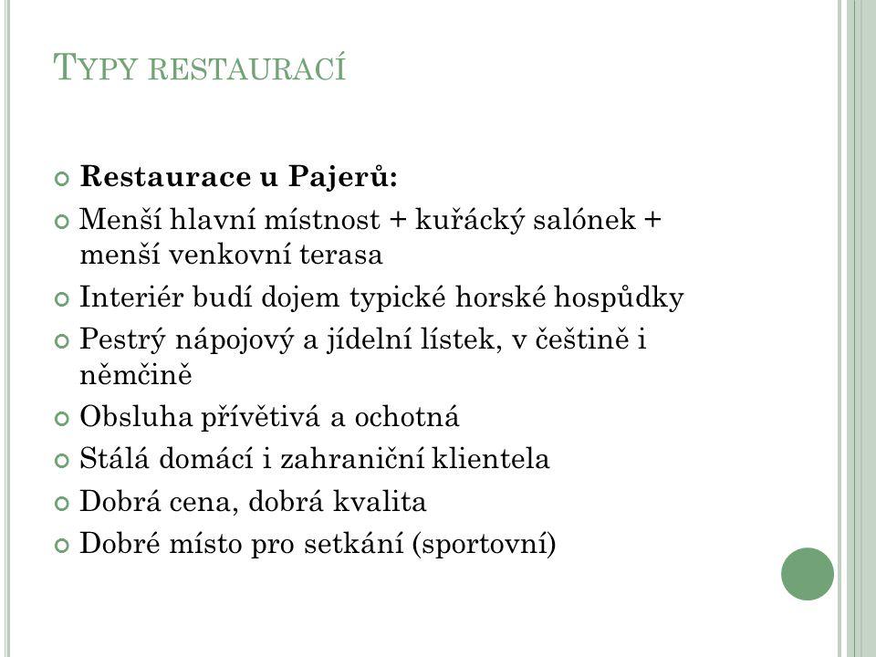 T YPY RESTAURACÍ Restaurace u Pajerů: Menší hlavní místnost + kuřácký salónek + menší venkovní terasa Interiér budí dojem typické horské hospůdky Pest