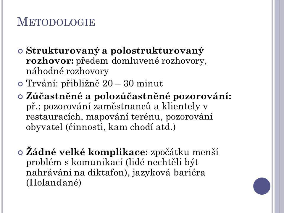 M ETODOLOGIE Strukturovaný a polostrukturovaný rozhovor: předem domluvené rozhovory, náhodné rozhovory Trvání: přibližně 20 – 30 minut Zúčastněné a po