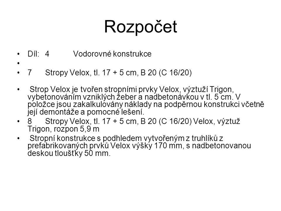 Rozpočet Díl:4Vodorovné konstrukce 7Stropy Velox, tl. 17 + 5 cm, B 20 (C 16/20) Strop Velox je tvořen stropními prvky Velox, výztuží Trigon, vybetonov