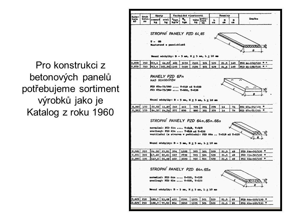 Pro konstrukci z betonových panelů potřebujeme sortiment výrobků jako je Katalog z roku 1960