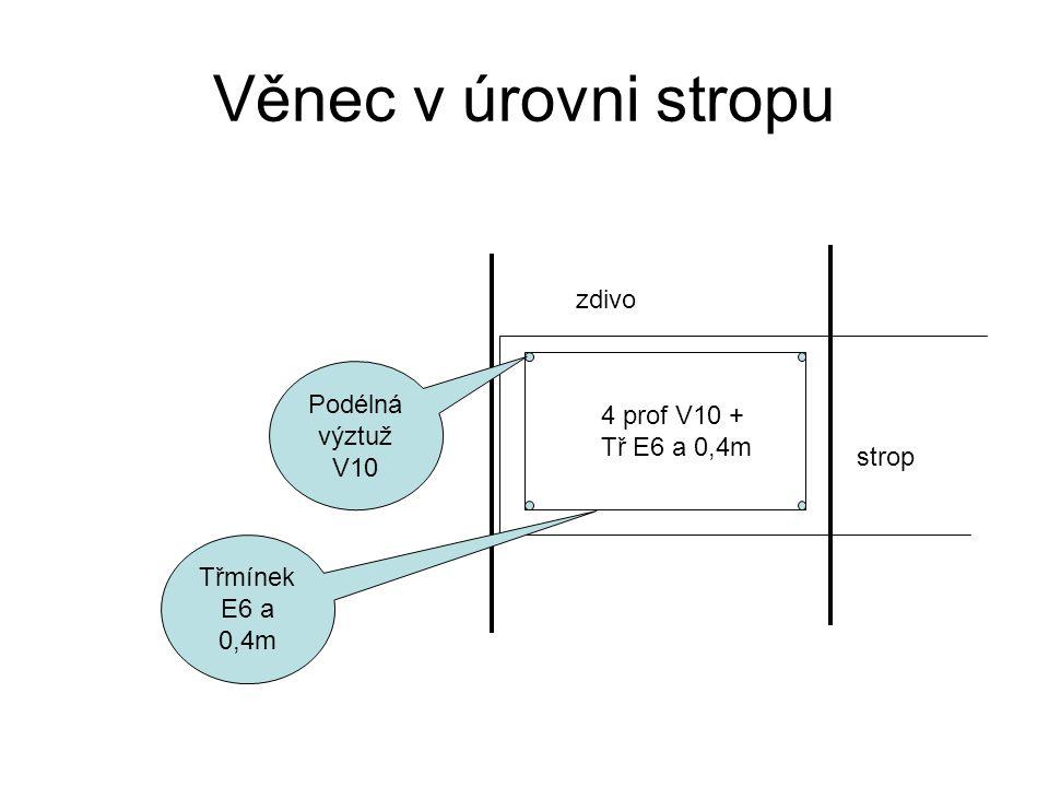 Věnec v úrovni stropu Třmínek E6 a 0,4m Podélná výztuž V10 4 prof V10 + Tř E6 a 0,4m strop zdivo