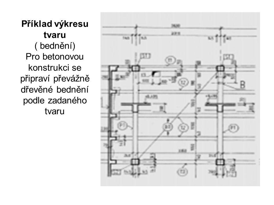 Příklad výkresu tvaru ( bednění) Pro betonovou konstrukci se připraví převážně dřevěné bednění podle zadaného tvaru