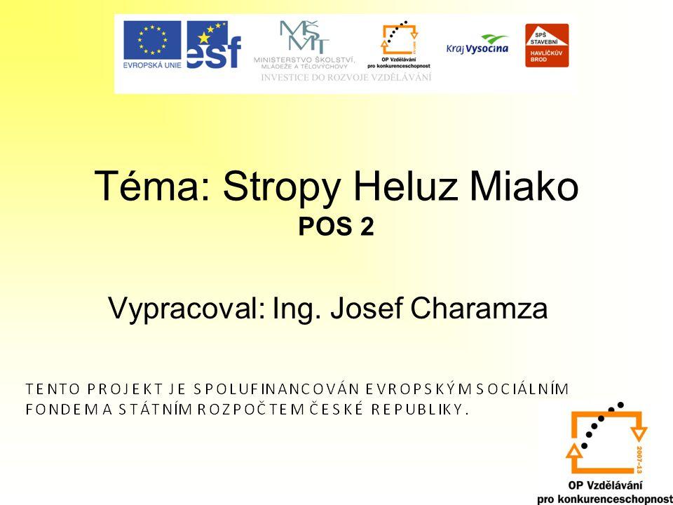 Téma: Stropy Heluz Miako POS 2 Vypracoval: Ing. Josef Charamza