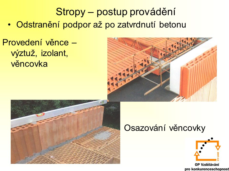Stropy – postup provádění Odstranění podpor až po zatvrdnutí betonu Provedení věnce – výztuž, izolant, věncovka Osazování věncovky