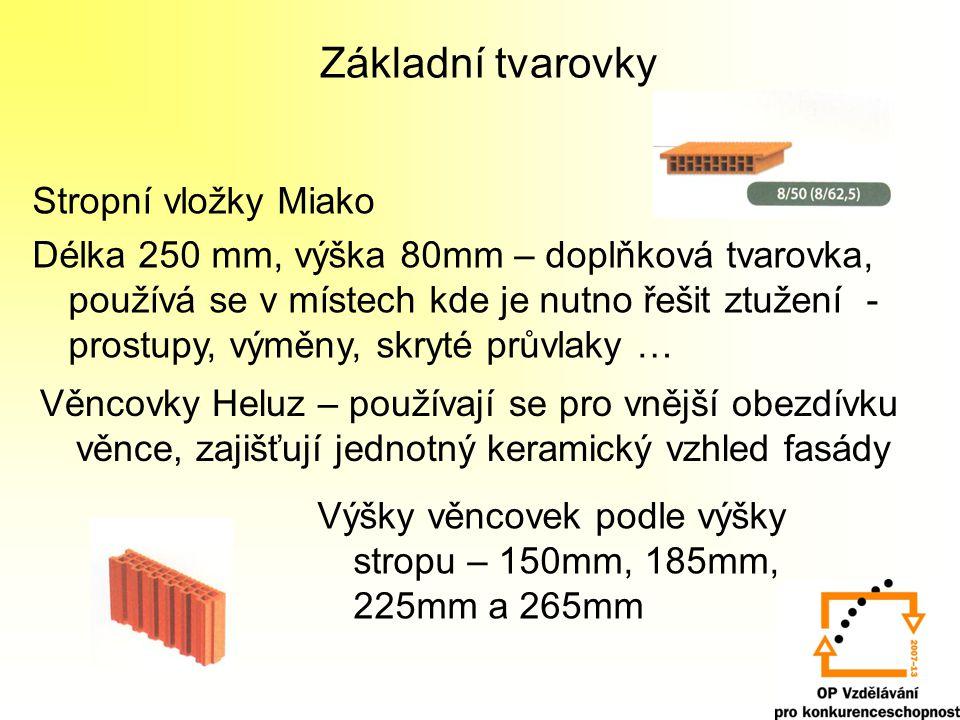 Základní tvarovky Věncovky Heluz – používají se pro vnější obezdívku věnce, zajišťují jednotný keramický vzhled fasády Stropní vložky Miako Délka 250