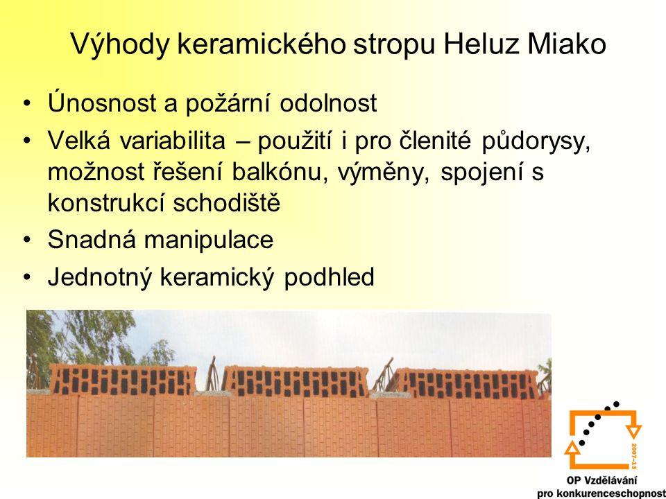Výhody keramického stropu Heluz Miako Únosnost a požární odolnost Velká variabilita – použití i pro členité půdorysy, možnost řešení balkónu, výměny,