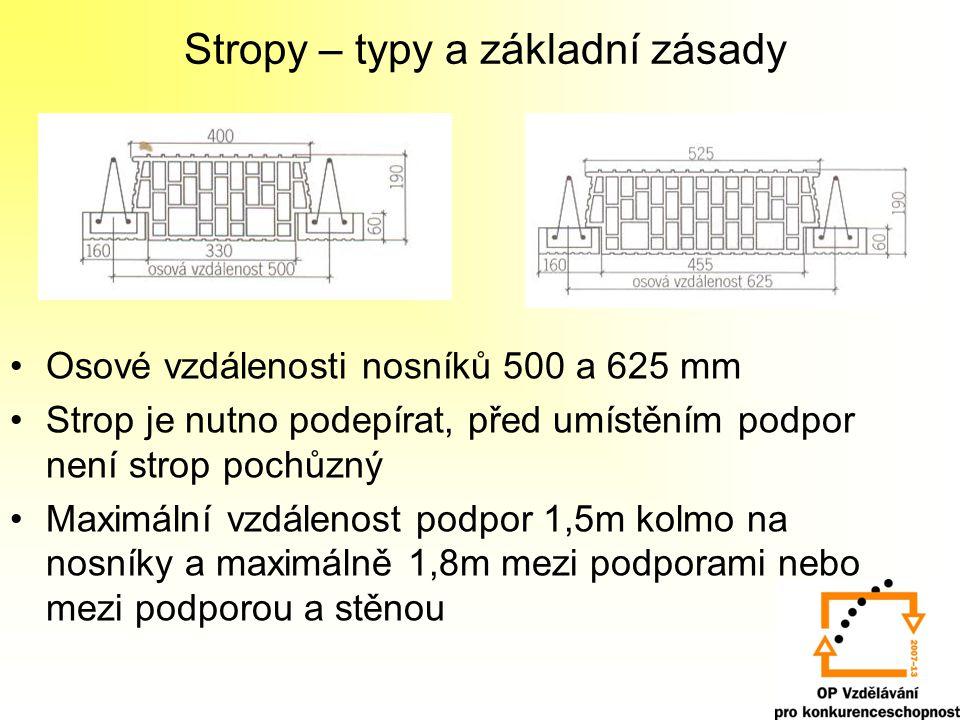 Stropy – typy a základní zásady Osové vzdálenosti nosníků 500 a 625 mm Strop je nutno podepírat, před umístěním podpor není strop pochůzný Maximální v
