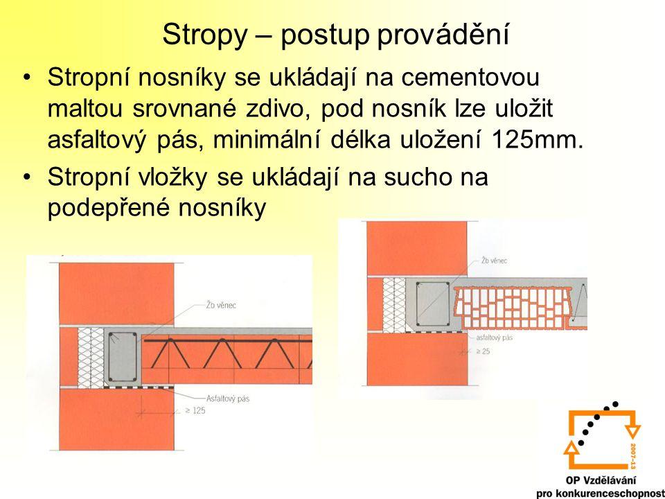 Stropy – postup provádění Stropní nosníky se ukládají na cementovou maltou srovnané zdivo, pod nosník lze uložit asfaltový pás, minimální délka uložen