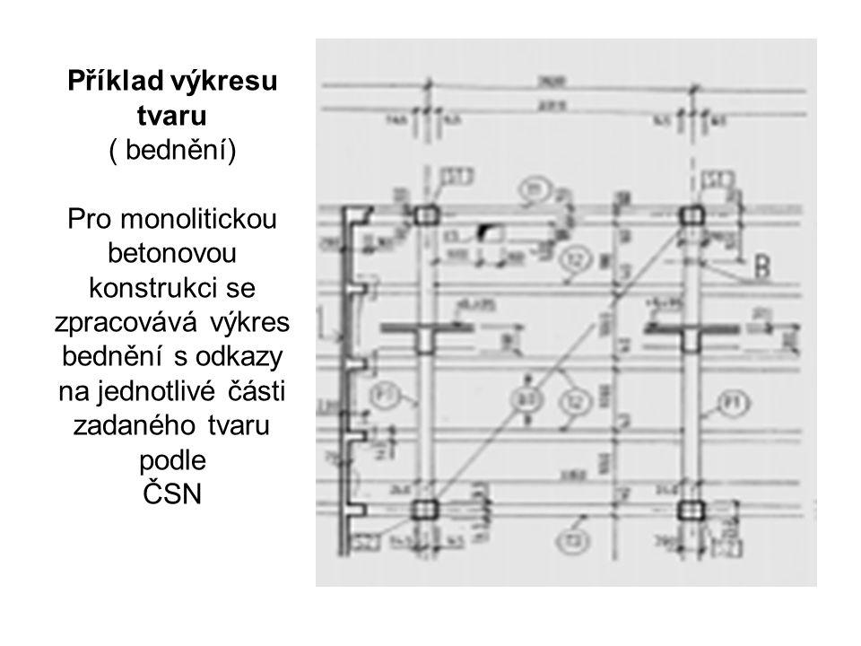 Příklad výkresu tvaru ( bednění) Pro monolitickou betonovou konstrukci se zpracovává výkres bednění s odkazy na jednotlivé části zadaného tvaru podle