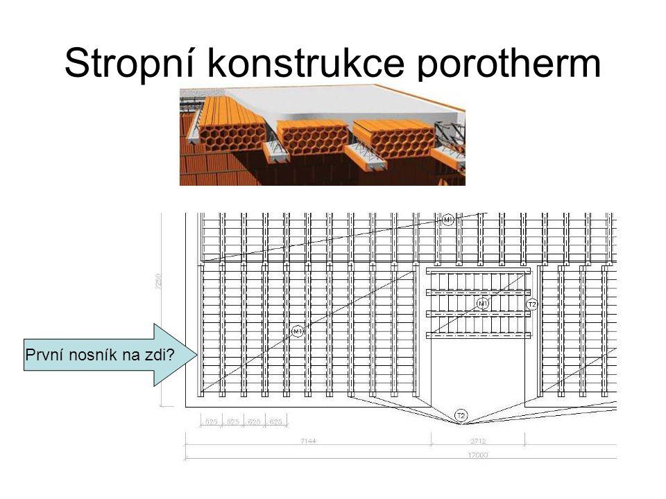 Stropní konstrukce porotherm První nosník na zdi?