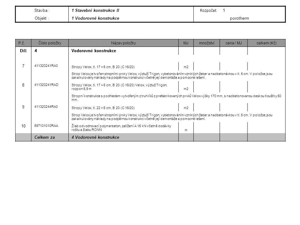 Stavba :1 Stavební konstrukce II Rozpočet: 1 Objekt :1 Vodorovné konstrukce porotherm P.č.Číslo položkyNázev položkyMJmnožstvícena / MJcelkem (Kč) Díl