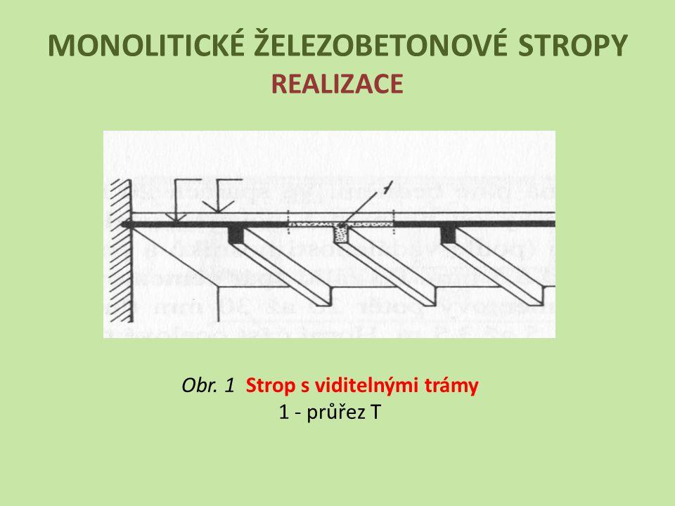 MONOLITICKÉ ŽELEZOBETONOVÉ STROPY REALIZACE Obr. 1 Strop s viditelnými trámy 1 - průřez T