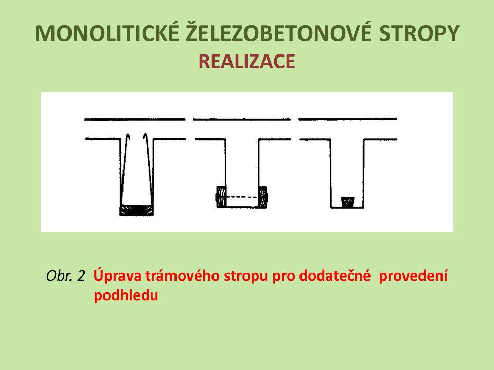 MONOLITICKÉ ŽELEZOBETONOVÉ STROPY REALIZACE Obr. 2 Úprava trámového stropu pro dodatečné provedení podhledu