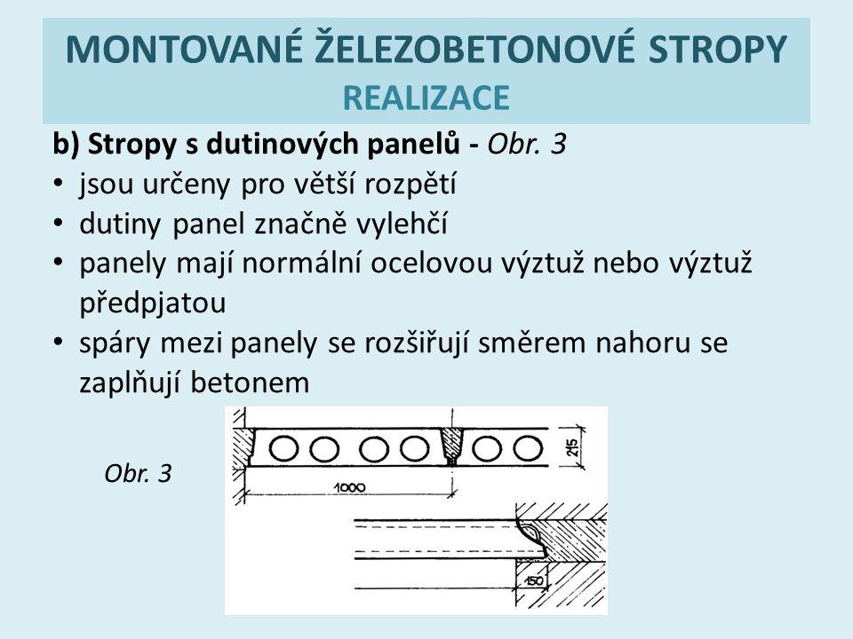 MONTOVANÉ ŽELEZOBETONOVÉ STROPY REALIZACE b) Stropy s dutinových panelů - Obr. 3 jsou určeny pro větší rozpětí dutiny panel značně vylehčí panely mají
