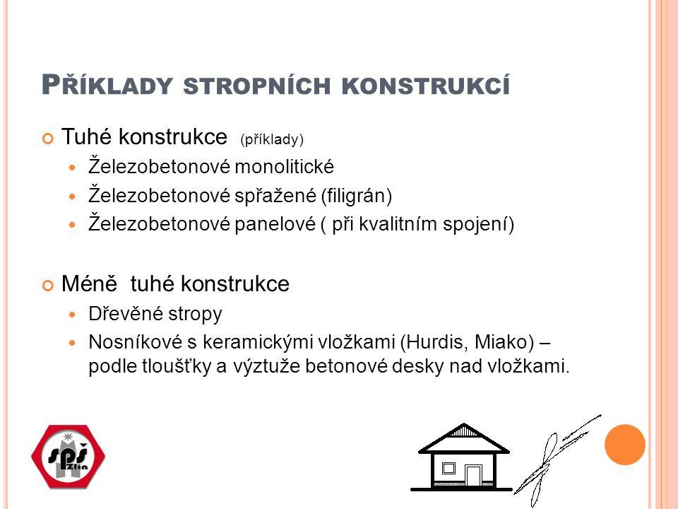 P ŘÍKLADY STROPNÍCH KONSTRUKCÍ Tuhé konstrukce (příklady) Železobetonové monolitické Železobetonové spřažené (filigrán) Železobetonové panelové ( při kvalitním spojení) Méně tuhé konstrukce Dřevěné stropy Nosníkové s keramickými vložkami (Hurdis, Miako) – podle tloušťky a výztuže betonové desky nad vložkami.