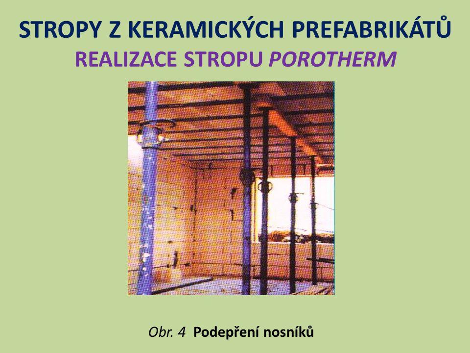 STROPY Z KERAMICKÝCH PREFABRIKÁTŮ REALIZACE STROPU POROTHERM Obr. 4 Podepření nosníků