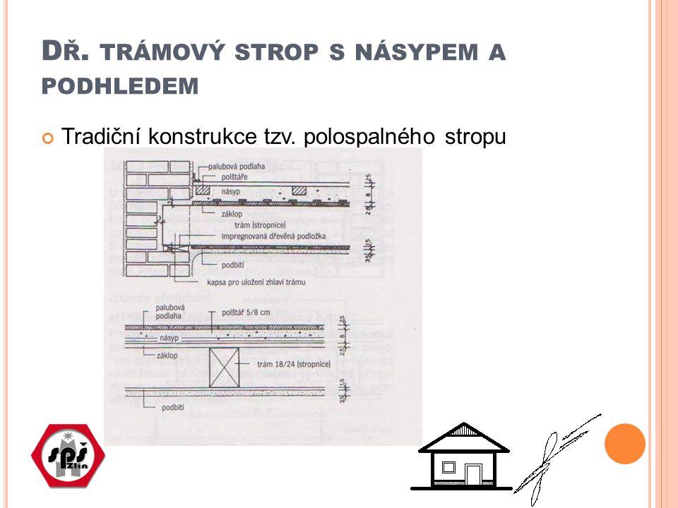 D Ř. TRÁMOVÝ STROP S NÁSYPEM A PODHLEDEM Tradiční konstrukce tzv. polospalného stropu