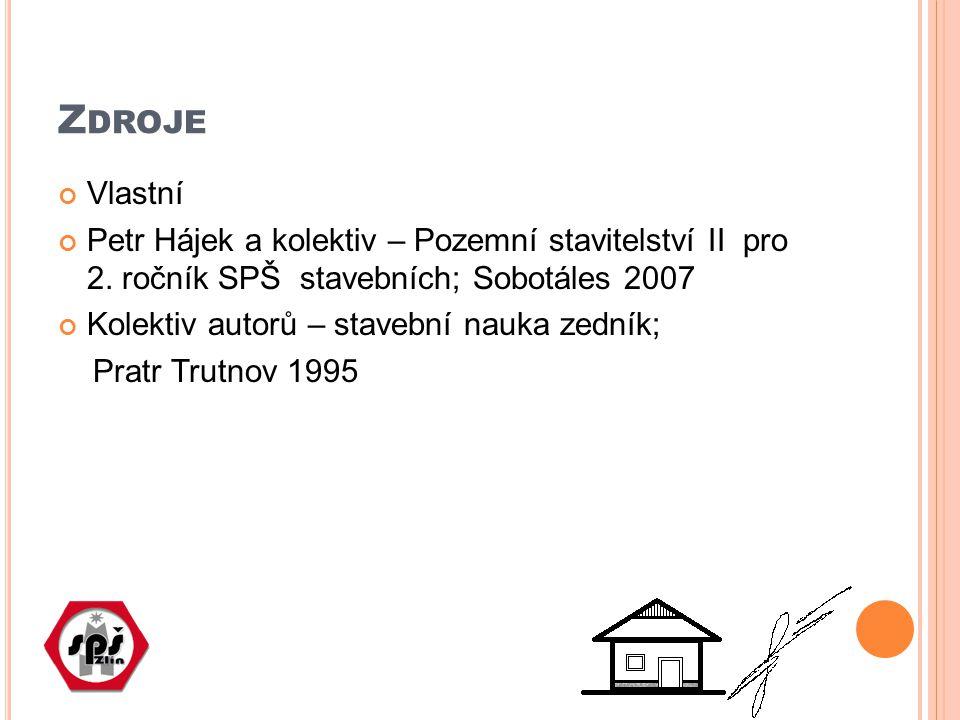 Z DROJE Vlastní Petr Hájek a kolektiv – Pozemní stavitelství II pro 2. ročník SPŠ stavebních; Sobotáles 2007 Kolektiv autorů – stavební nauka zedník;