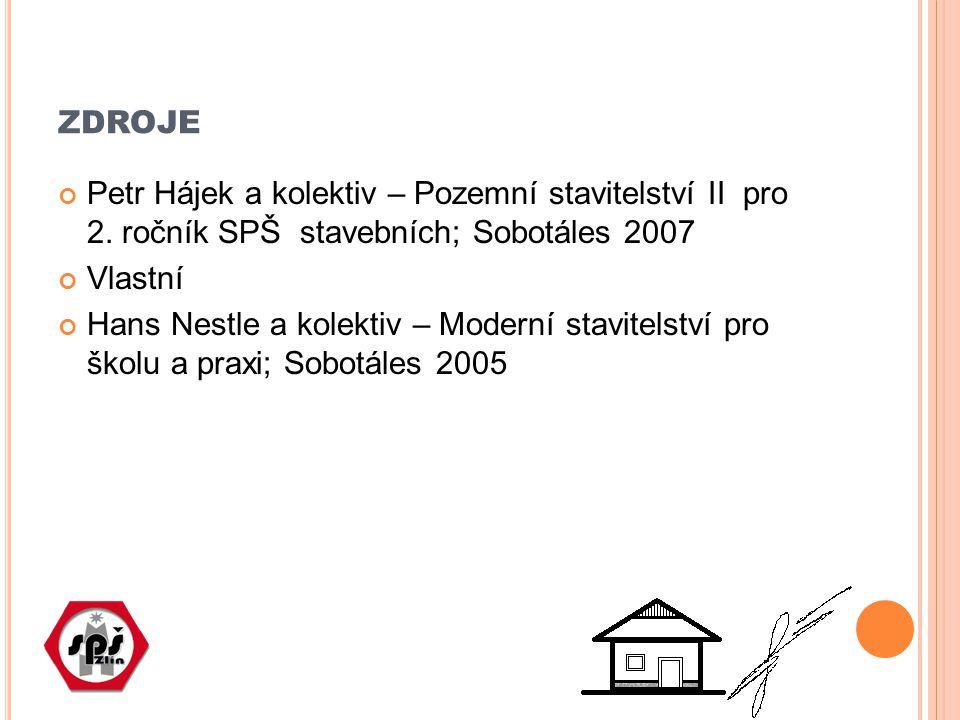 ZDROJE Petr Hájek a kolektiv – Pozemní stavitelství II pro 2. ročník SPŠ stavebních; Sobotáles 2007 Vlastní Hans Nestle a kolektiv – Moderní stavitels