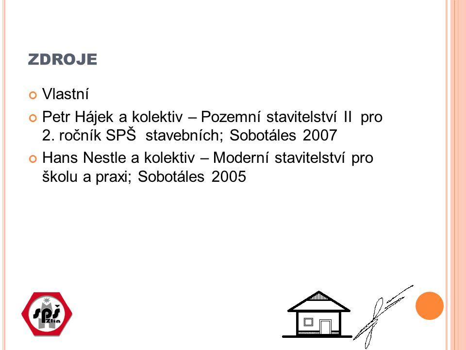 ZDROJE Vlastní Petr Hájek a kolektiv – Pozemní stavitelství II pro 2. ročník SPŠ stavebních; Sobotáles 2007 Hans Nestle a kolektiv – Moderní stavitels