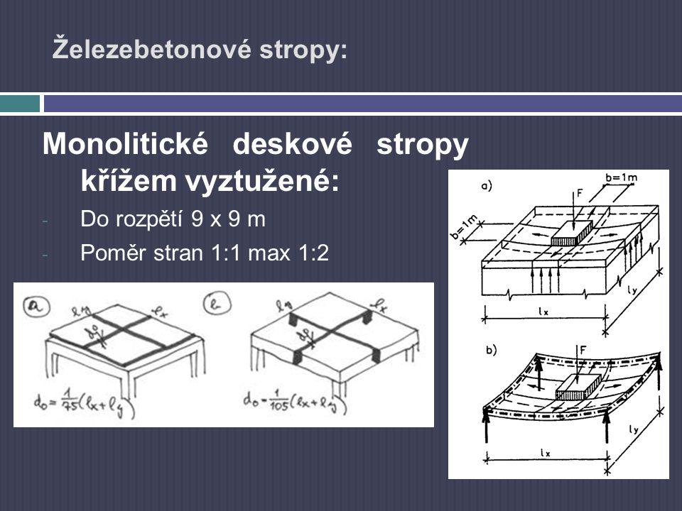Železebetonové stropy: Monolitické deskové stropy křížem vyztužené: - Do rozpětí 9 x 9 m - Poměr stran 1:1 max 1:2