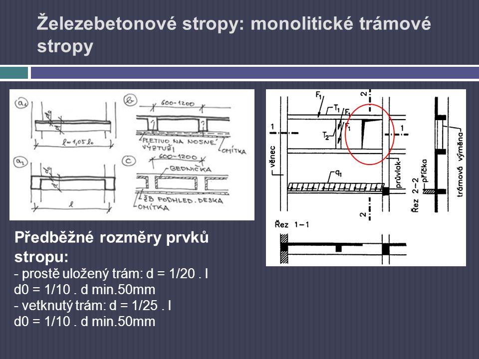 Železebetonové stropy: monolitické trámové stropy Předběžné rozměry prvků stropu: - prostě uložený trám: d = 1/20. l d0 = 1/10. d min.50mm - vetknutý