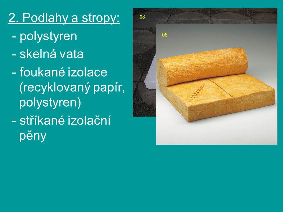 08 06 2. Podlahy a stropy: - polystyren - skelná vata - foukané izolace (recyklovaný papír, polystyren) - stříkané izolační pěny