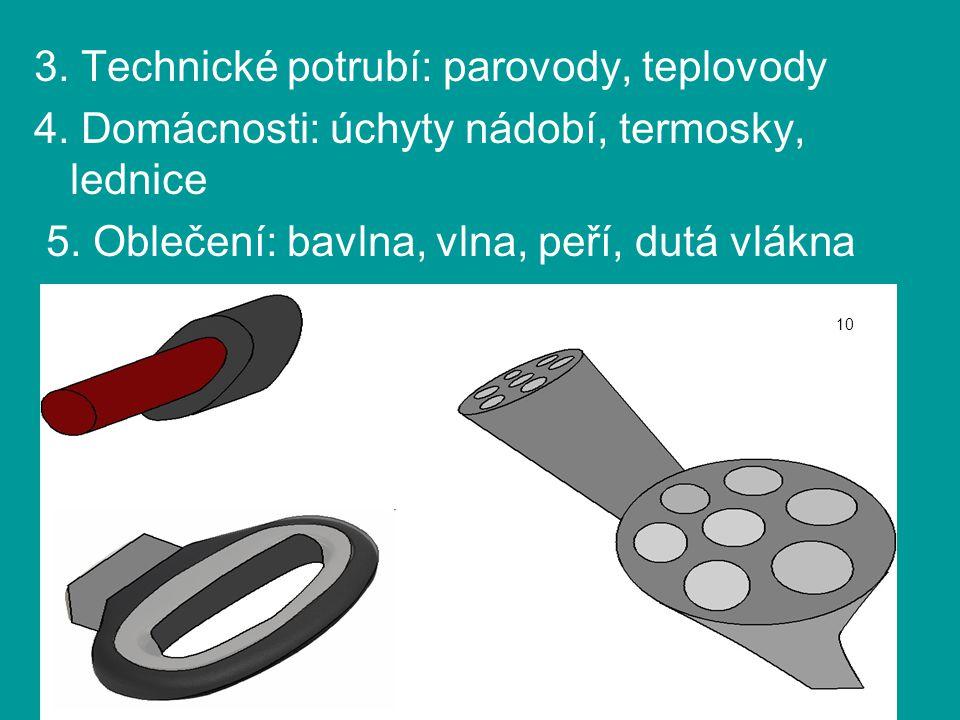 3. Technické potrubí: parovody, teplovody 4. Domácnosti: úchyty nádobí, termosky, lednice 5. Oblečení: bavlna, vlna, peří, dutá vlákna 10