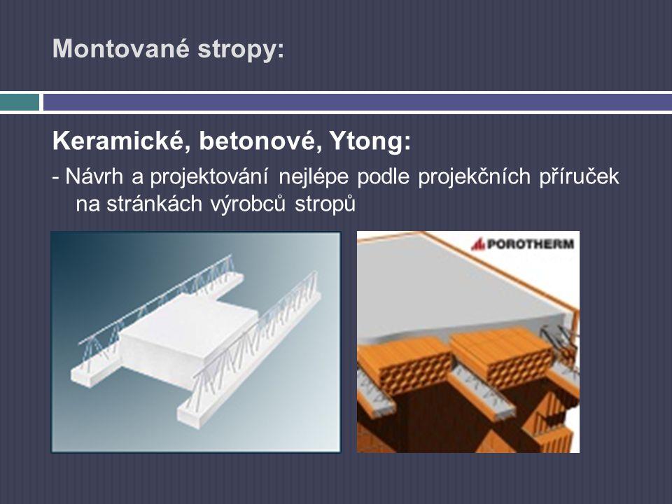Montované stropy: Keramické, betonové, Ytong: - Návrh a projektování nejlépe podle projekčních příruček na stránkách výrobců stropů