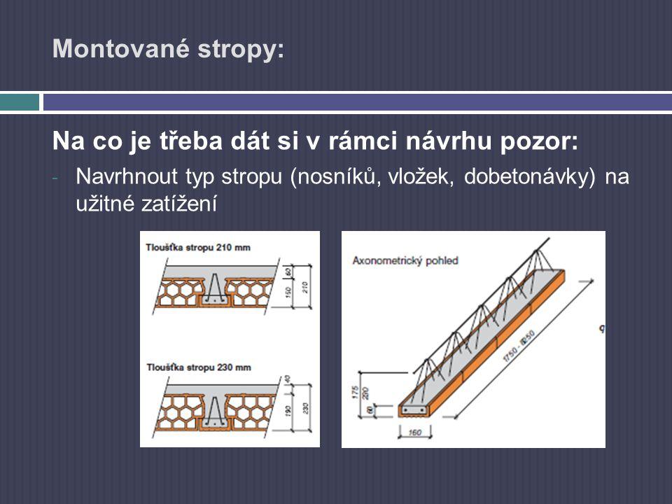 Montované stropy: Na co je třeba dát si v rámci návrhu pozor: - Navrhnout typ stropu (nosníků, vložek, dobetonávky) na užitné zatížení