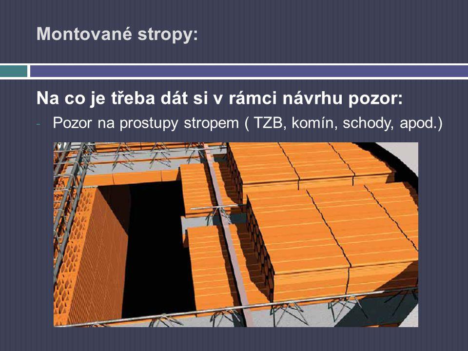 Montované stropy: Na co je třeba dát si v rámci návrhu pozor: - Pozor na prostupy stropem ( TZB, komín, schody, apod.)