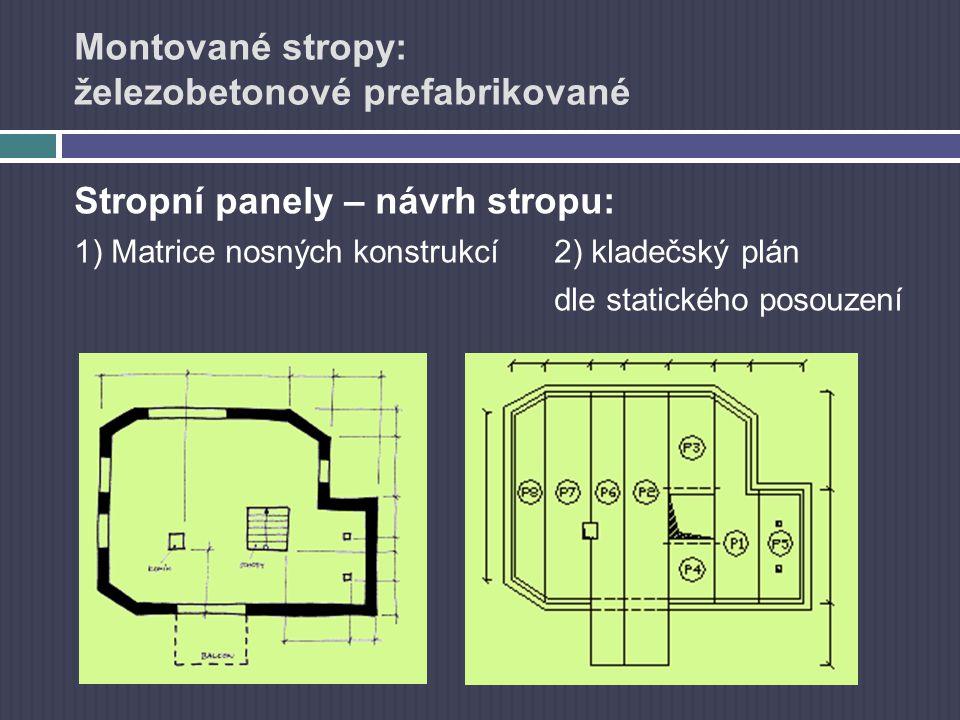 Montované stropy: železobetonové prefabrikované Stropní panely – návrh stropu: 1) Matrice nosných konstrukcí2) kladečský plán dle statického posouzení