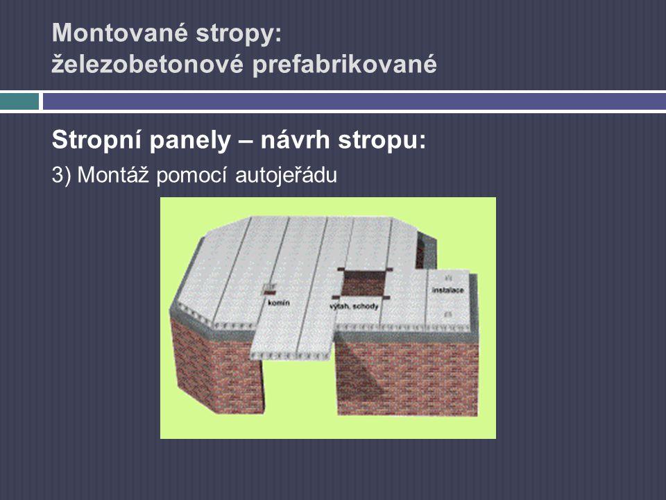 Montované stropy: železobetonové prefabrikované Stropní panely – návrh stropu: 3) Montáž pomocí autojeřádu