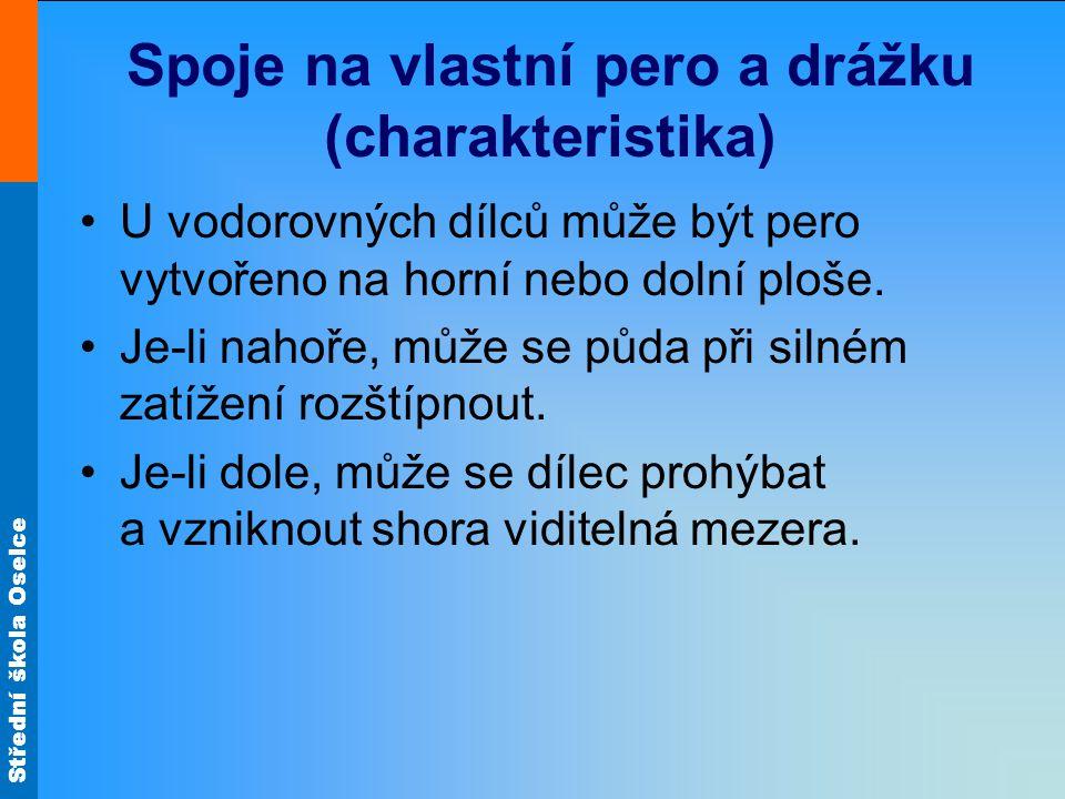 Střední škola Oselce Spoje na vlastní pero a drážku (charakteristika) U vodorovných dílců může být pero vytvořeno na horní nebo dolní ploše.