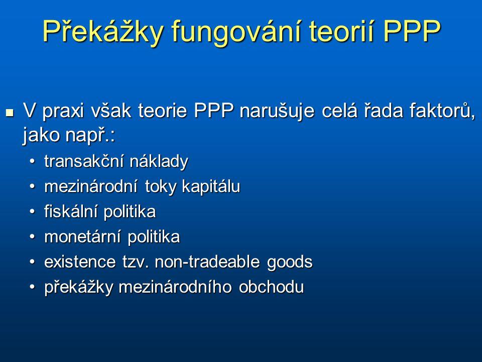 Překážky fungování teorií PPP V praxi však teorie PPP narušuje celá řada faktorů, jako např.: V praxi však teorie PPP narušuje celá řada faktorů, jako např.: transakční nákladytransakční náklady mezinárodní toky kapitálumezinárodní toky kapitálu fiskální politikafiskální politika monetární politikamonetární politika existence tzv.