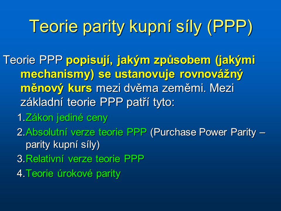 Teorie parity kupní síly (PPP) Teorie PPP popisují, jakým způsobem (jakými mechanismy) se ustanovuje rovnovážný měnový kurs mezi dvěma zeměmi.