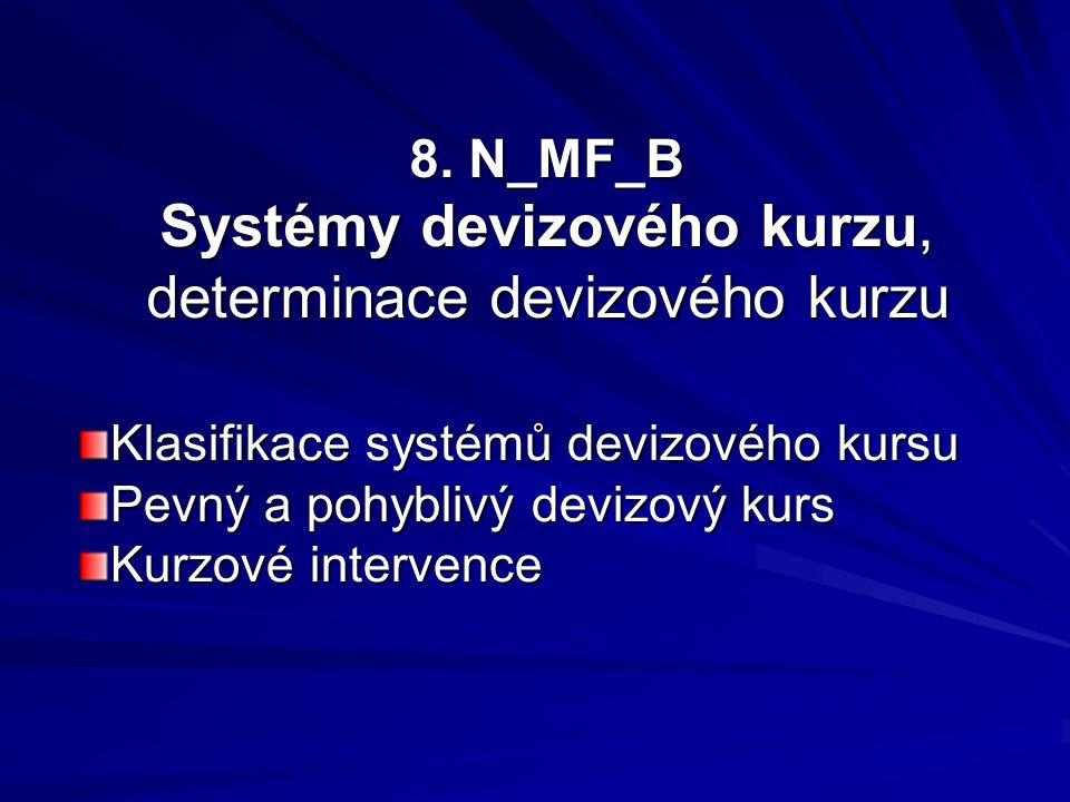 8. N_MF_B Systémy devizového kurzu, determinace devizového kurzu Klasifikace systémů devizového kursu Pevný a pohyblivý devizový kurs Kurzové interven