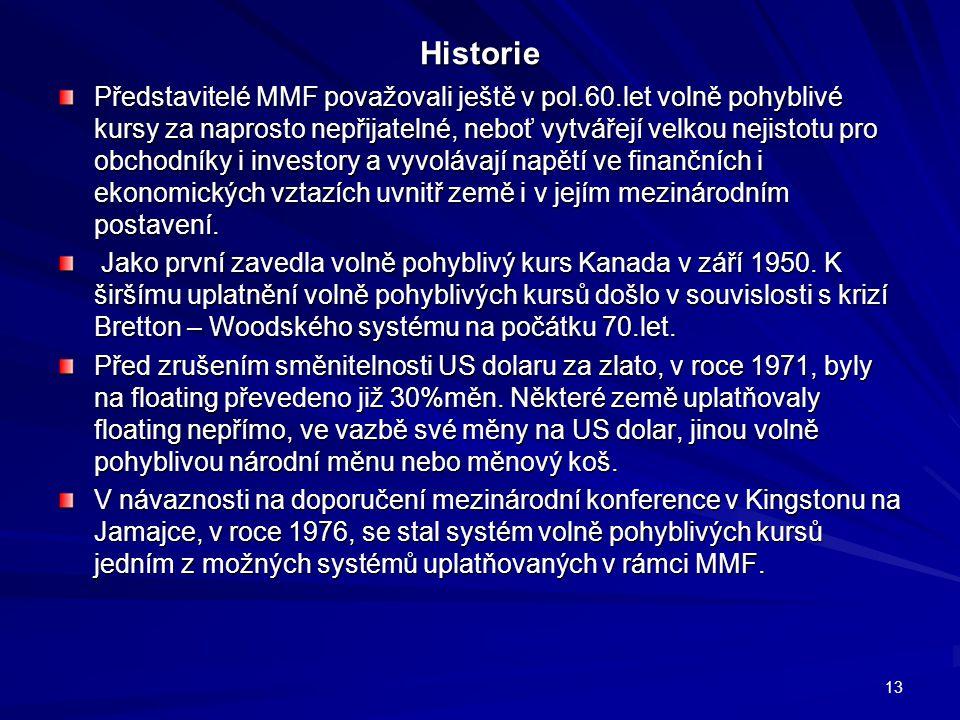 Historie Představitelé MMF považovali ještě v pol.60.let volně pohyblivé kursy za naprosto nepřijatelné, neboť vytvářejí velkou nejistotu pro obchodní