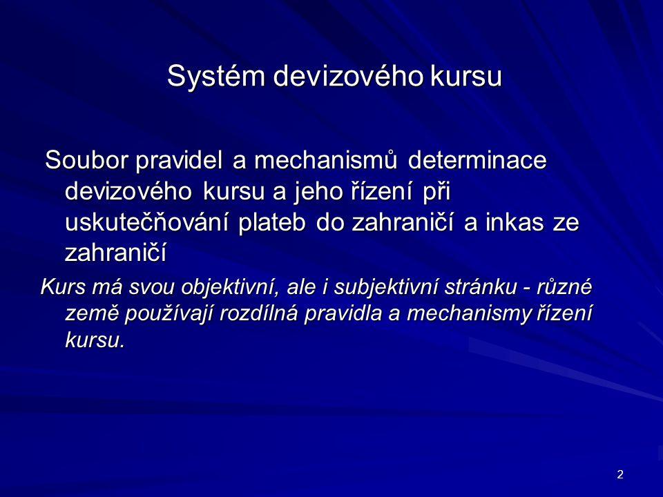 Systém devizového kursu Soubor pravidel a mechanismů determinace devizového kursu a jeho řízení při uskutečňování plateb do zahraničí a inkas ze zahra