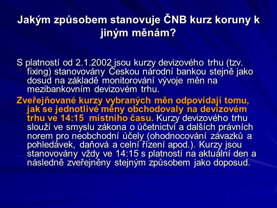 Jakým způsobem stanovuje ČNB kurz koruny k jiným měnám? S platností od 2.1.2002 jsou kurzy devizového trhu (tzv. fixing) stanovovány Českou národní ba