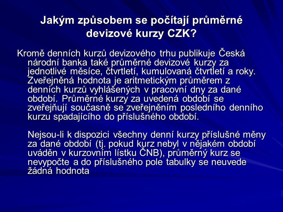 Jakým způsobem se počítají průměrné devizové kurzy CZK? Kromě denních kurzů devizového trhu publikuje Česká národní banka také průměrné devizové kurzy