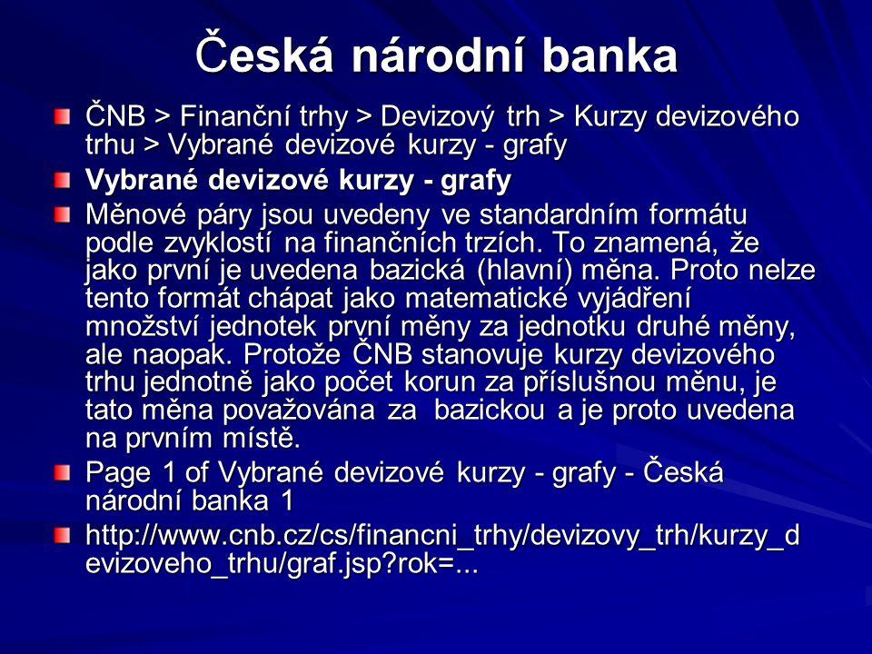 Česká národní banka ČNB > Finanční trhy > Devizový trh > Kurzy devizového trhu > Vybrané devizové kurzy - grafy Vybrané devizové kurzy - grafy Měnové páry jsou uvedeny ve standardním formátu podle zvyklostí na finančních trzích.