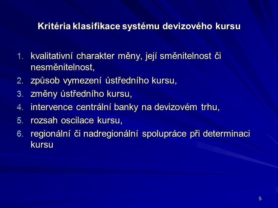 Kritéria klasifikace systému devizového kursu 1. kvalitativní charakter měny, její směnitelnost či nesměnitelnost, 2. způsob vymezení ústředního kursu