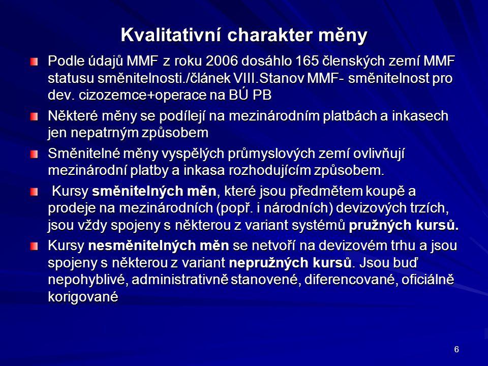 Kvalitativní charakter měny Podle údajů MMF z roku 2006 dosáhlo 165 členských zemí MMF statusu směnitelnosti./článek VIII.Stanov MMF- směnitelnost pro dev.