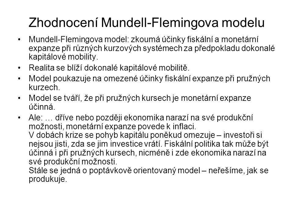 Zhodnocení Mundell-Flemingova modelu Mundell-Flemingova model: zkoumá účinky fiskální a monetární expanze při různých kurzových systémech za předpokla