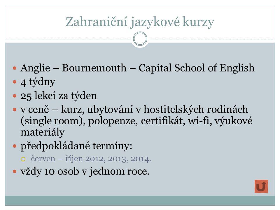 Zahraniční jazykové kurzy Anglie – Bournemouth – Capital School of English 4 týdny 25 lekcí za týden v ceně – kurz, ubytování v hostitelských rodinách (single room), polopenze, certifikát, wi-fi, výukové materiály předpokládané termíny:  červen – říjen 2012, 2013, 2014.