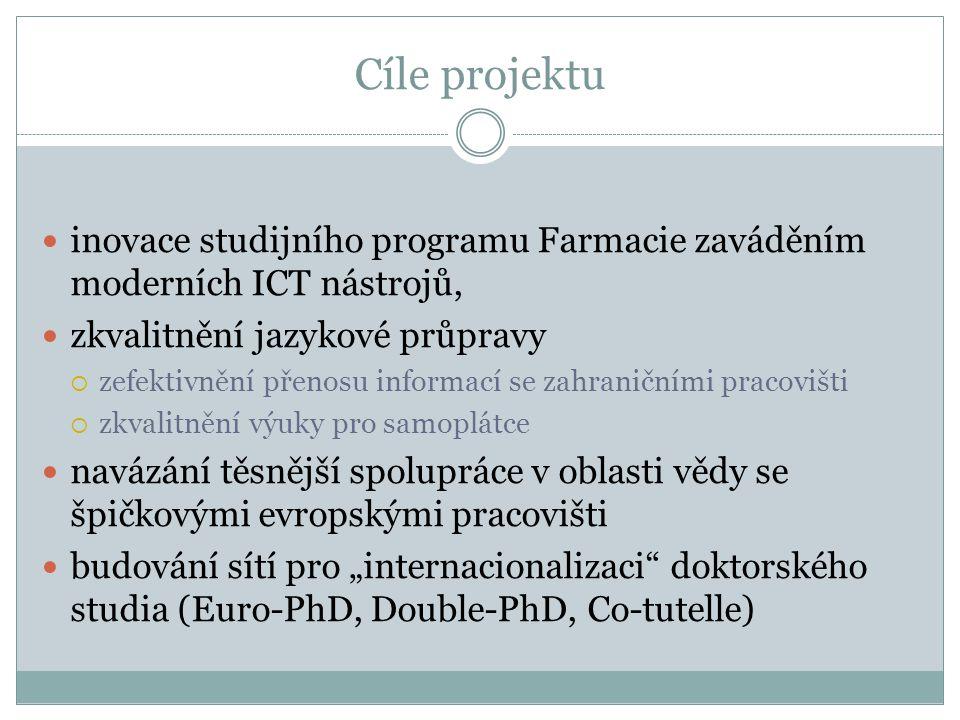 """Cíle projektu inovace studijního programu Farmacie zaváděním moderních ICT nástrojů, zkvalitnění jazykové průpravy  zefektivnění přenosu informací se zahraničními pracovišti  zkvalitnění výuky pro samoplátce navázání těsnější spolupráce v oblasti vědy se špičkovými evropskými pracovišti budování sítí pro """"internacionalizaci doktorského studia (Euro-PhD, Double-PhD, Co-tutelle)"""