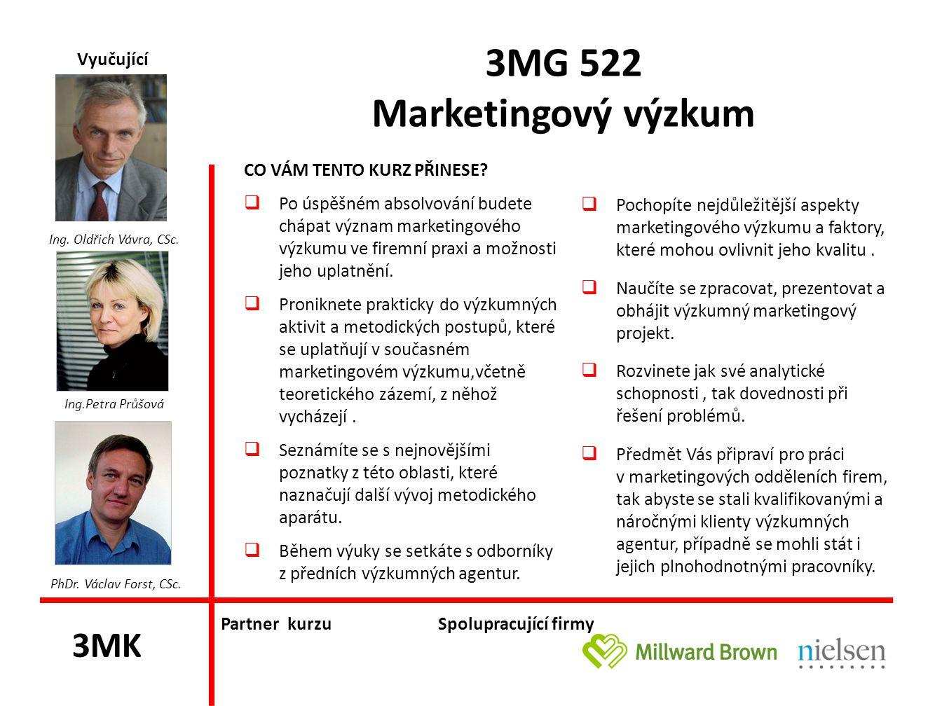 3MG 525 Strategický marketing & inovace CO VÁM TENTO KURZ PŘINESE.