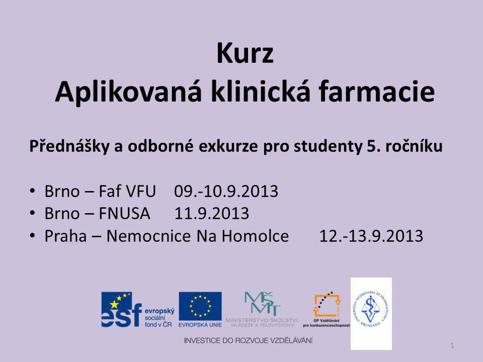 Kurz Aplikovaná klinická farmacie Přednášky a odborné exkurze pro studenty 5. ročníku Brno – Faf VFU09.-10.9.2013 Brno – FNUSA 11.9.2013 Praha – Nemoc